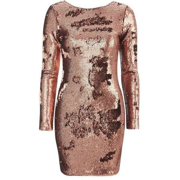 Gabby Dress by Motel (£44) ❤ liked on Polyvore featuring dresses, brown dress, v neck dress, brown bodycon dress, v-neck dresses and body con dresses