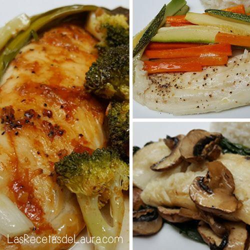 3 deliciosas recetas para preparar pescado empapelado, con verduras, al jengibre o con espinacas y champiñones, light y saludable!