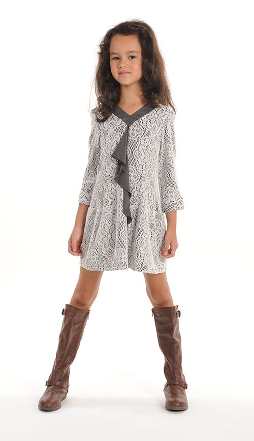 Long sleeve Lace Overlay Girls Dress with drop waist, v neck and ruffle