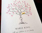 Fingerabdruck-Baum Hochzeit Gäste Buch Alternative für Baby, Original handgezeichnete Extra kleine Birke Bäumchen Design (mit 2 Ink Pads)
