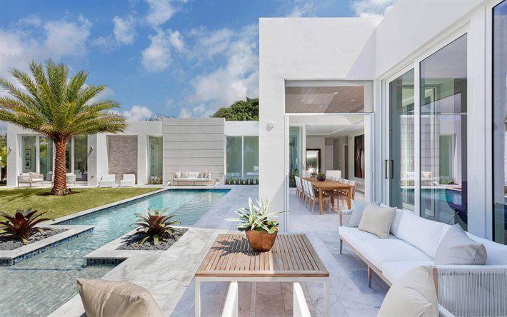 Descargar fondos de pantalla Hermoso patio trasero de diseño, en blanco, exterior, piscina, de diseño moderno