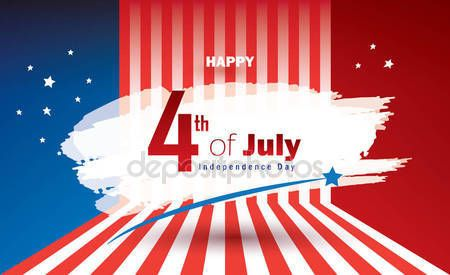 Download - Happy 4th of July independence day poster, greeting card. Congratulations lettering, banner for celebrate American Holiday, Memorial day, Labor Day. Festive background with fireworks in American flag color. Vector template. — Stock Illustration #158416260