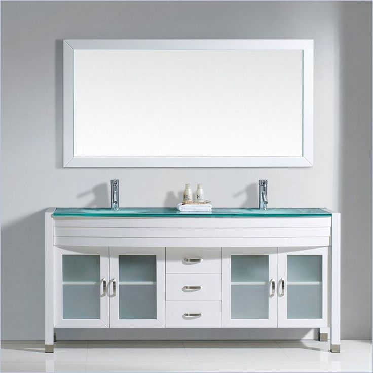 "Ava 71"" Glass Double Bathroom Vanity Cabinet Set in White - UM-3073-G-WH-001"