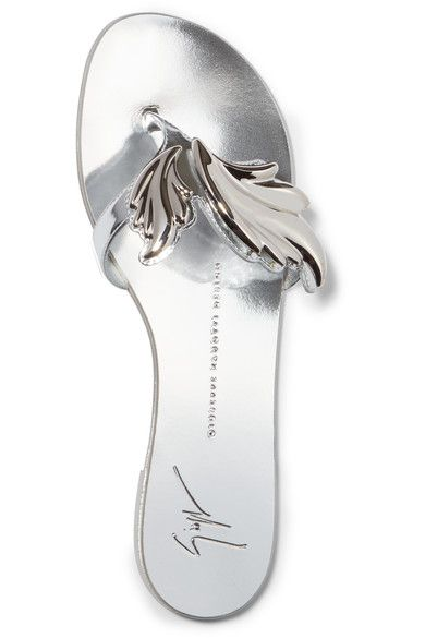 Giuseppe Zanotti - Embellished Metallic Leather Sandals - Silver - IT
