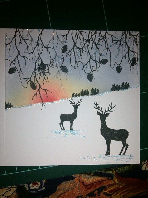 Stags in snow christmas card made with cardio stamps.