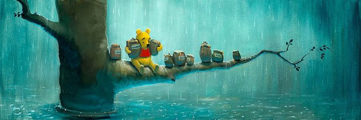 Winnie the Pooh - Waiting Out the Rain - Rob Kaz - World-Wide-Art.com - #disneyfineart #robkaz #winniethepooh