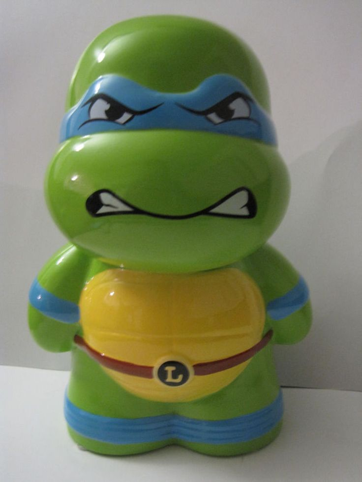 Teenage Mutant Ninja Turtles Leonardo ceramic Coin Money Piggy Bank TMNT #FAB