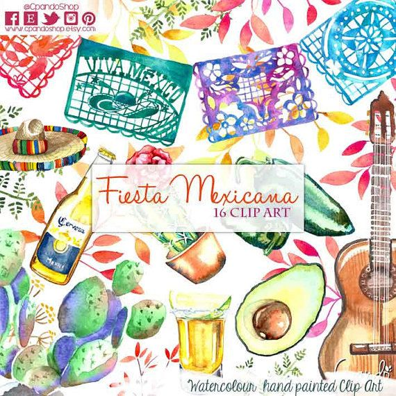 Fiesta Cute Digital Clipart Spanish Mexican Clipart by CpandoShop