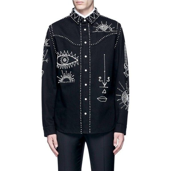 Valentino Tribal embellished denim shirt jacket ($2,590) ❤ liked on Polyvore featuring men's fashion, men's clothing, men's outerwear, men's jackets, mens white denim jacket, mens sequin jacket, mens white jacket and mens denim jacket