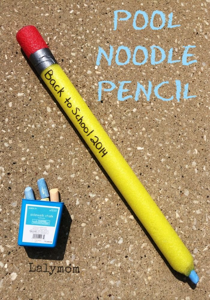 Back to School Craft - Pool Noodle Pencil on Lalymom.com. Perfect for teacher gifts or a back to school party!