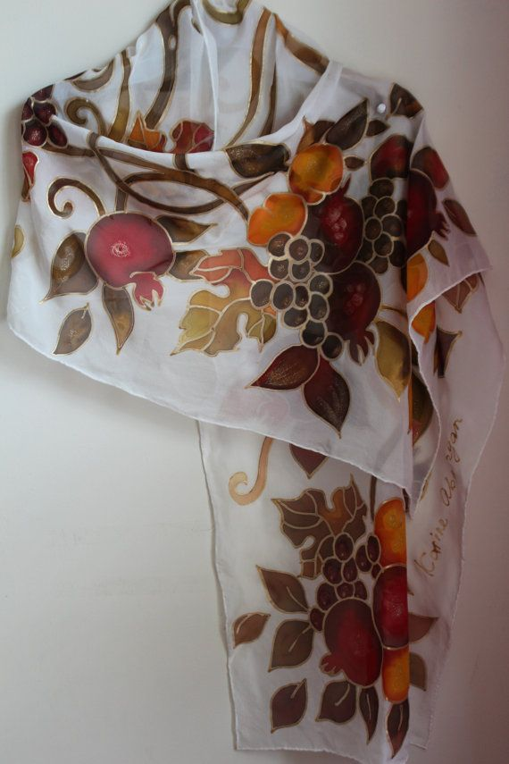 Pomegranate scarf Size 57-18in 44-145 cm ==================================== For Armenians and Jews the pomegranate is one of the most recognizable symbols of the country. In Armenian mythology it symbolizes fertility and good fortune. It was a guardian against the evil eye. At weddings in Western Armenia, a bride ...