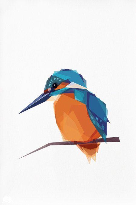 Geometric illustration Kingfisher Bird print by TinyKiwiCreations