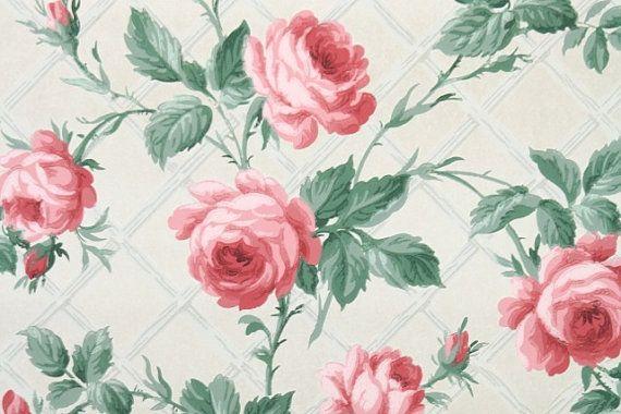 1940 39 s vintage wallpaper big pink roses vintage