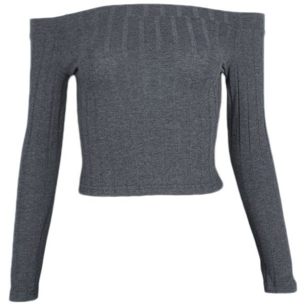 Gobought Womens Slim Off Shoulder Long Sleeve Rib-Knit Crop Pullover... (45 PEN) ❤ liked on Polyvore featuring tops, sweaters, off the shoulder sweater, long sleeve sweater, long sleeve pullover sweater, off-shoulder crop tops and crop tops