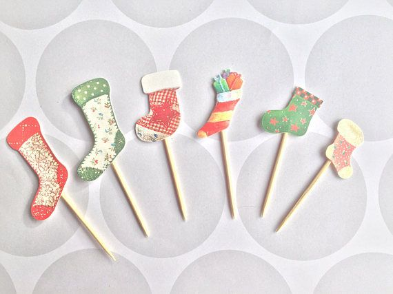 Christmas cupcakes need that finishing touch? These christmas stockings will be the perfect finishing touch!  Each pack contains 6 toppers.  All toppers are securely fixed to food safe sticks with hot glue. Hand finished with gem centres. ** Please note toppers are only sided and plain on reverse**  I am part of the Dorset Etsy Team and we are a group that supports other Etsy sellers in the county of Dorset, England. To find out more search the hashtag #DorsetTeam on social media.  You can…