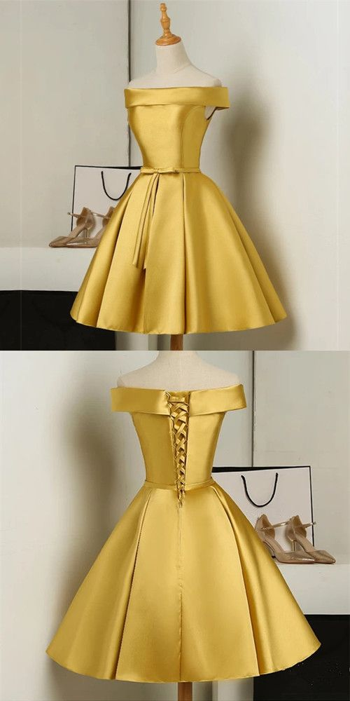 gold bridesmaid dress,short bridesmaid dresses,satin bridesmaid dress,satin prom dress,short mini prom dress,short homecoming dress,off the shoulder dress