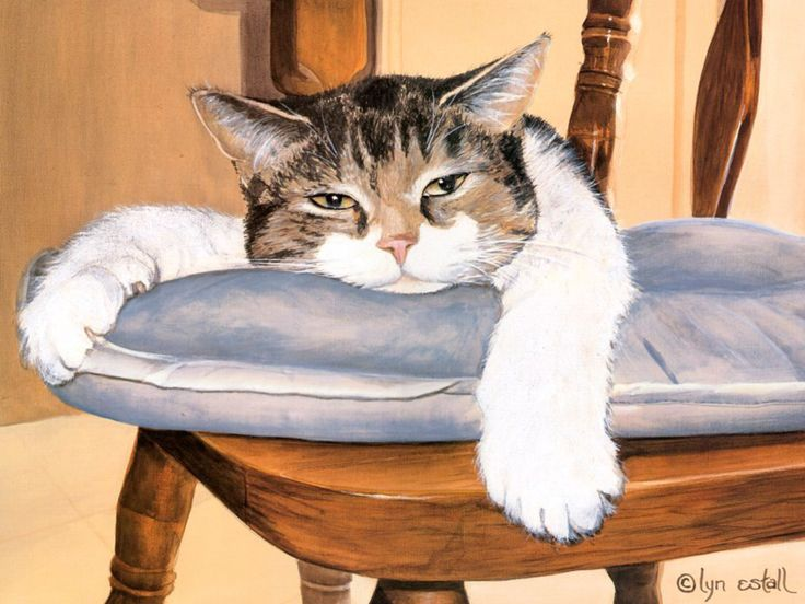 Lyn Estall - It's Exhausting Being Me (de): Cat Art, Mill, Dinners Time, Gatos Dormilon, Lyn Estal, Dogs Cat, Sons This, Art Cat, Animal