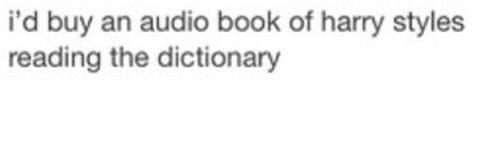 I'd buy an audio book of Louis reading the Urban Dictionary, Zayn reading the back of a cereal box, Liam reading a Shakespeare play, and Niall laughing and counting to one hundred.<<<<< Repinning for that comment, because it's fuckin perfect