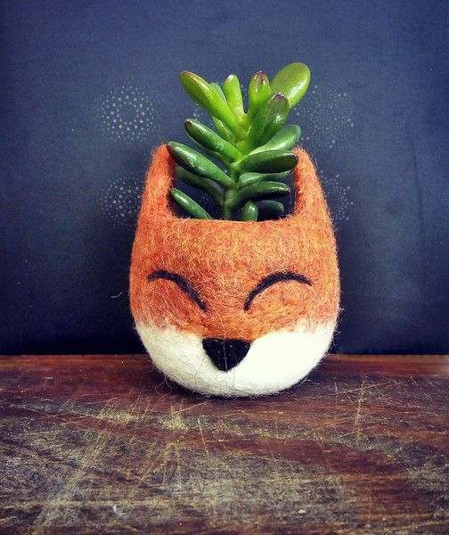 Fox head planter / succulent planter from The Yarn Kitchen by DaWanda.com
