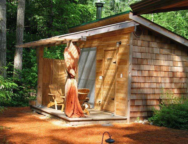 Finnish Sauna @ Eco Retreat - covered porch over entrance