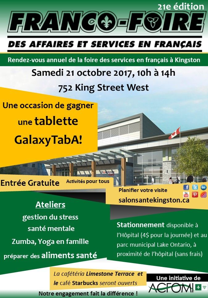 Le 21 octobre, venez rencontrer la communauté francophone de Kingston dans une ambiance décontractée et courrez la chance de remporter une tablette Samsung GalaxyTab A!
