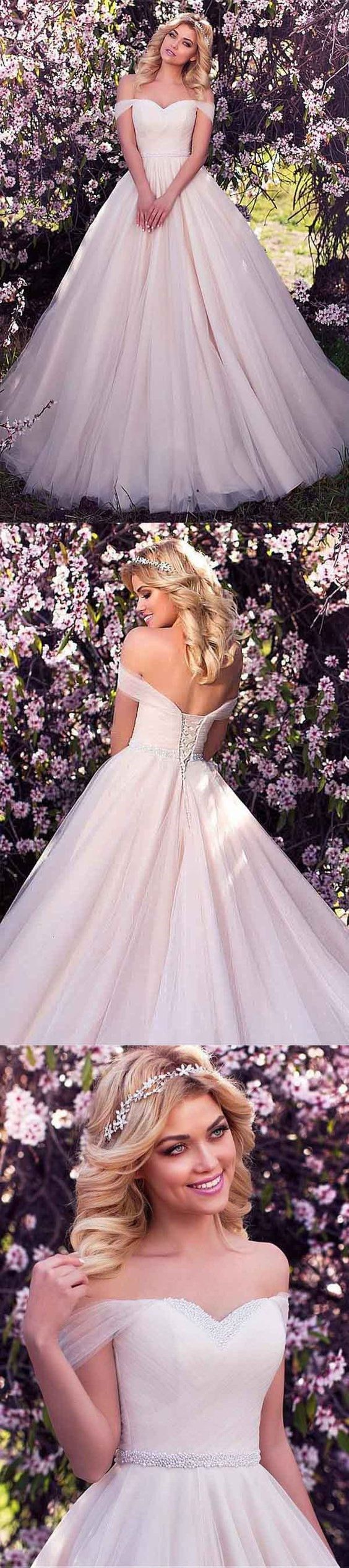 Tulle Off-the-shoulder Neckline A-line Wedding Dress With Beading M2273
