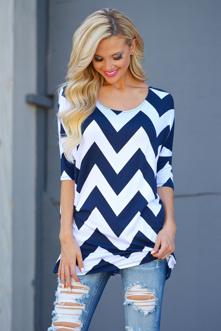 Here To Stay Chevron Top - Navy from Closet Candy Boutique - #restock #shopccb
