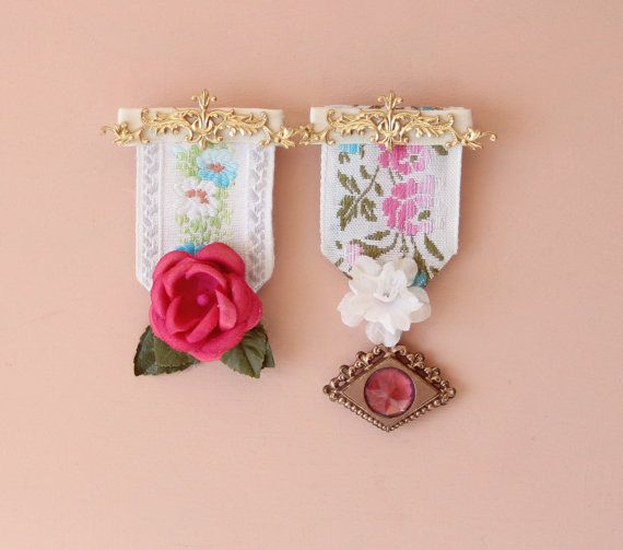 whimsical medals - upcycled ribbon badges, pins