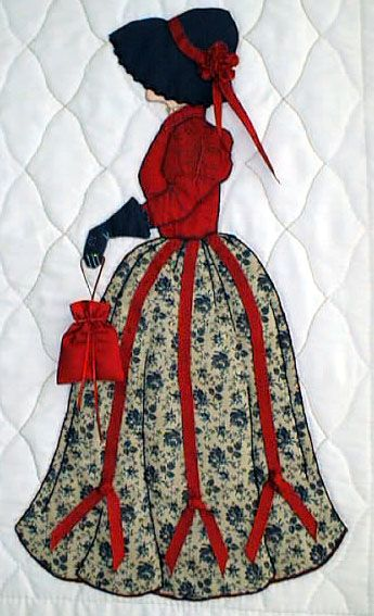 """#8 """"New Bonnet Girl Cousins""""  Lindsay $6.50.  Lindsay is going shopping with her red ribbon appliqué trimmed dress."""