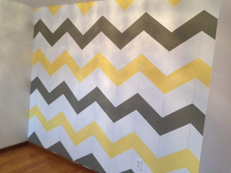 Yellow grey chevron wall  #behr