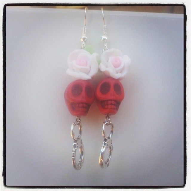Red Skull Pink Rose and Silver Handcuff Earrings $9 Aust. From Rags To Bags on FaceBook.