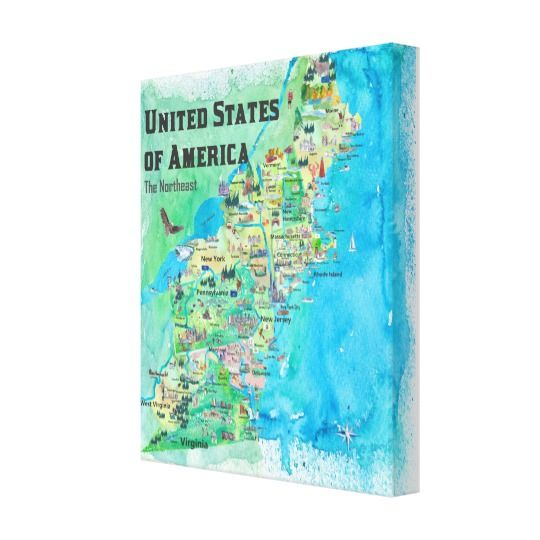USA Northeast States Map VA WV MD PA NY MS CT RI V Canvas Print in ...