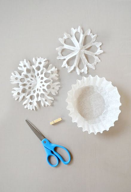 DIY snowflakes using coffee filters. Perfect for little people- already circular & easy to cut through. the pink couch: Holiday Snowflakes
