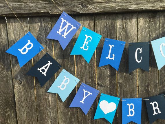 Welcome baby banner. Welcome baby sign. Baby boy shower