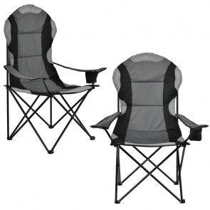 [casa.pro] Sedia da campeggio nero-grigio in un set di 2 45,30 €