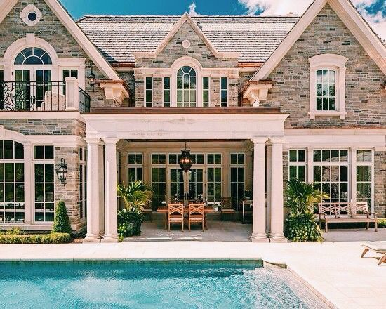 Gorgeous stone home with backyard pool
