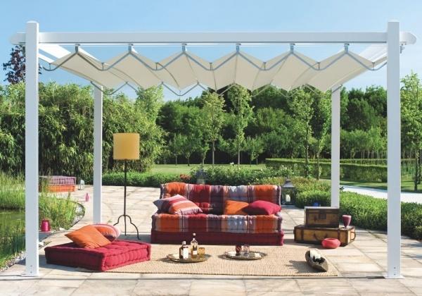 Pergole retractabile MED FLY pentru terase de vara si gradina, poze pergole FLY / Gibus cu structura de aluminiu, aplicatii pentru terase de gradina. Asigura racoare pe timpul verii si protectie la ploaie.