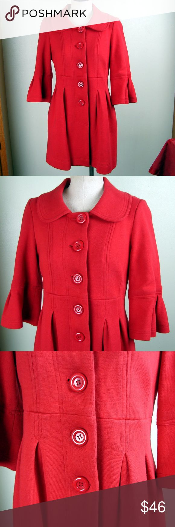 Forever 21 red pea coat bell sleeves M Forever 21 red pea coat bell sleeves M Excellent condition! Cut side pockets Peter Pan collar  269 Forever 21 Jackets & Coats Pea Coats
