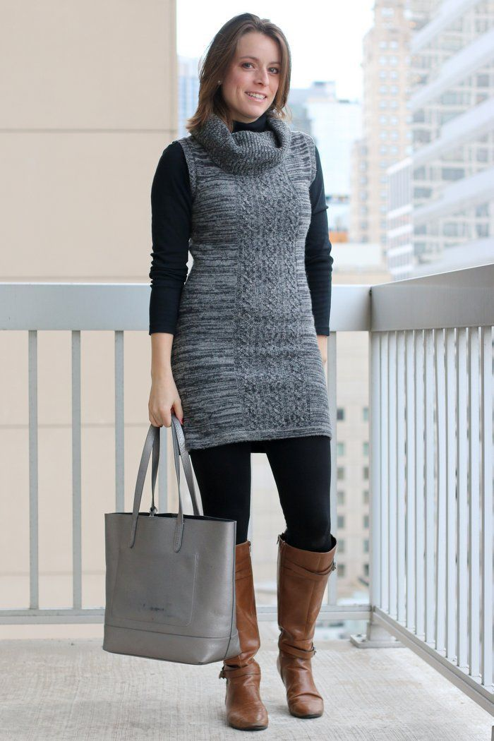how to wear grey sweater tights