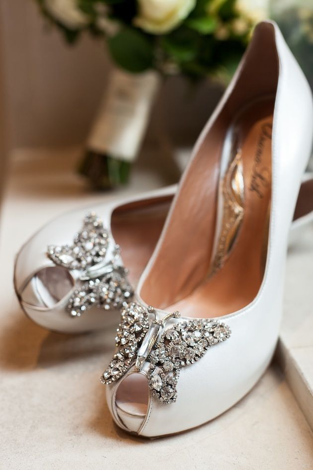 Beautiful butterly peep toe bridal shoes by Aruna Seth