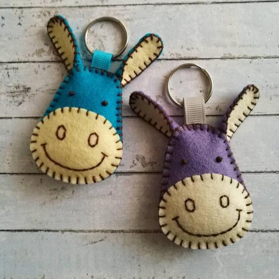 Wool Felt Donkey keychain Blue donkey key chain Gray donkey | Etsy