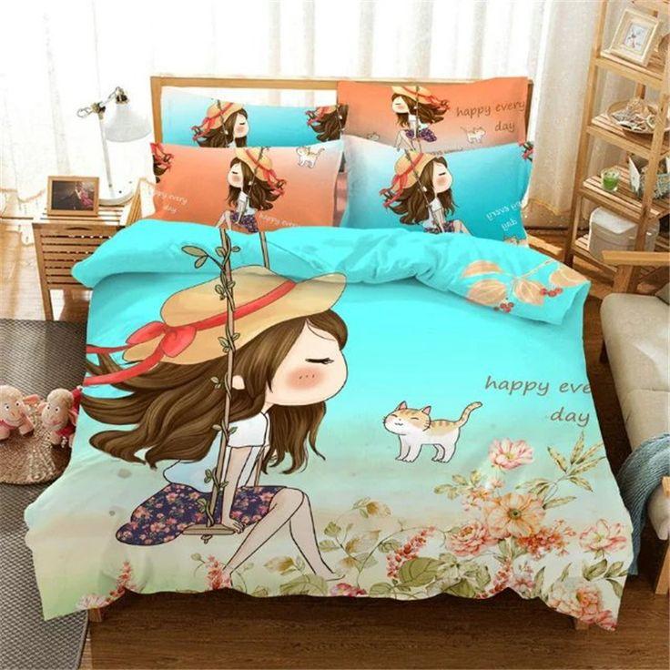 Cartoon characters blue Bedding Set 4pcs Duvet Cover Bed Sheet Pillowcase Children Kids Bed Linen twin full queen king size