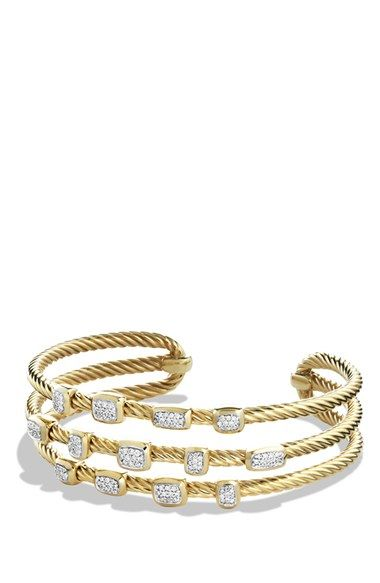 David Yurman 'Confetti' Narrow Cuff Bracelet with Diamonds in Gold available at #Nordstrom