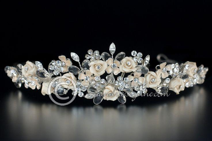 Rum Pink Porcelain Flowers & Jewels Bridal Tiara