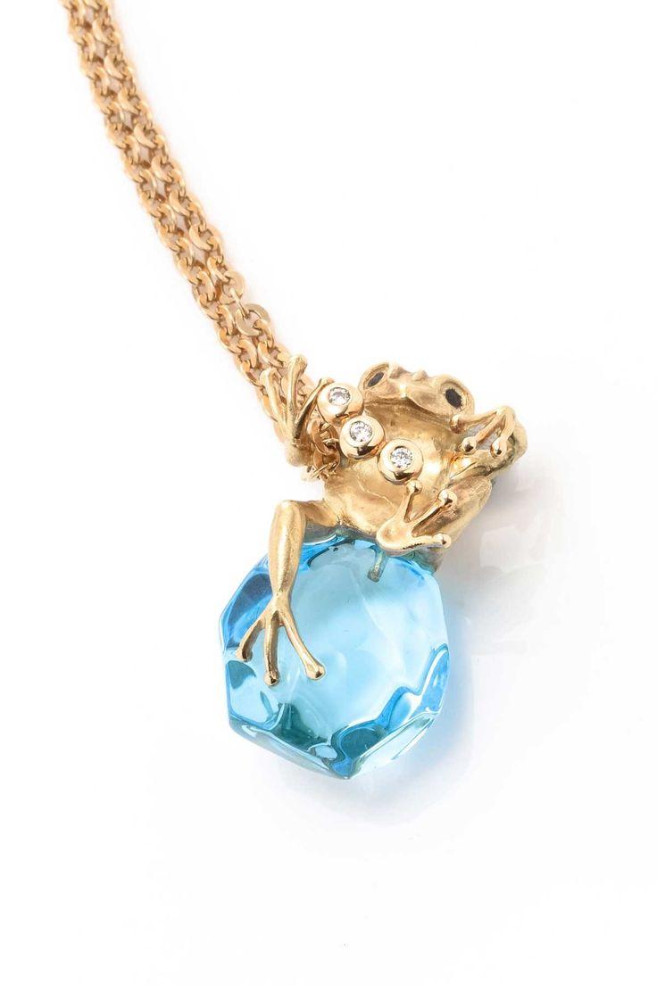 Vintage Jeunet 18K Yellow Gold Blue Topaz & Diamond Frog Pendant Necklace - 0.07 ctw on HauteLook