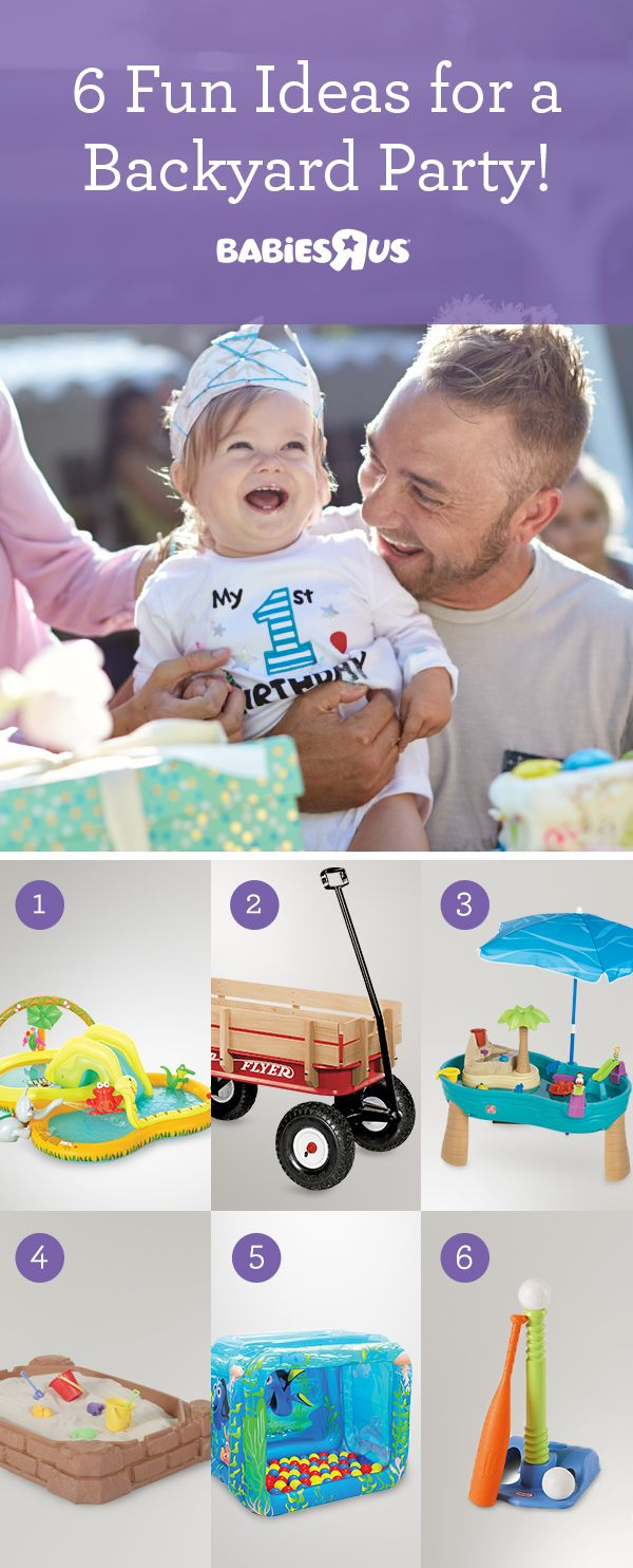 Baby's first birthday coming up? Take the party outside & turn your backyard into a fun park! (No yard? Have it in the park!) Ready, set, splash in the kiddie pool (#1), then it's all aboard for a wagon ride (#2), with stops at each activity. Sand + water + 1-year-olds go together, so set up a play station or two (#s 3, 4). Don't forget a jump in the ball pit (#5) & T-ball practice (#6). Rain in the forecast? Switch it up & bring what you can inside. It'll be just as much fun indoors as out!