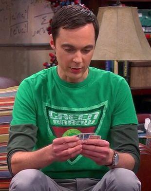 Sheldon's Green Arrow shirt on The Big Bang Theory. Outfit Details: http://wornontv.net/8983/ #TheBigBangTheory