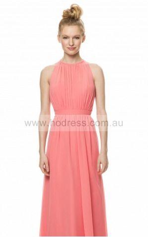 Chiffon Jewel Natural A-line Floor-length Bridesmaid Dresses 0740153--Hodress