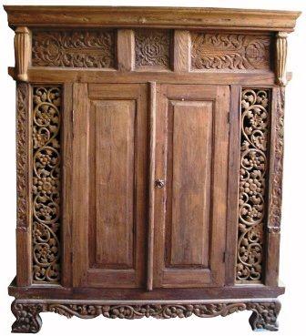 Balinese wardrobe made of old recycled teak wood