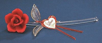 """Glass Baron ~ Red Rose """"I Love You"""" ~ 22kt gold trim ~ Great Gift ~ 5"""" ~ NIB"""